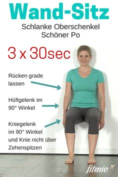 Wall seat for slim thighs and a firm butt. knackiger Po in 30 … Wall seat for slim thighs and a firm butt. Crisp butt in 30 seconds. Fitness Workouts, Fitness Motivation, Sport Fitness, Sport Motivation, Pilates Workout, Mens Fitness, Health Fitness, Fitness Pilates, Wall Workout