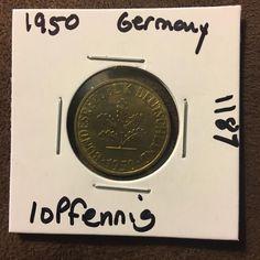 1950 Germany 10 Pfennig Coin 1187