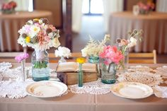 book and flower centerpieces.