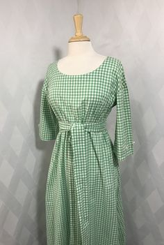 ba39c1d89217 Vintage 1970s Green and White Gingham Check French Country Boho 3 4 Sleeve  Maxi Dress