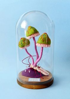 cute creatures get embroidered and felted into precarious situations with carnivorous fungi Felt Mushroom, Diy And Crafts, Arts And Crafts, Cute Embroidery, Toy Craft, Cute Creatures, Soft Sculpture, Needle Felting, Snow Globes