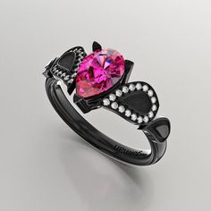 Gorman Designs 14K Black Gold 1.0 Ct Pear Pink by GormanDesigns