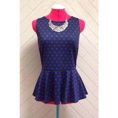 HP Polka Dot Peplum Top Host pick 4/27/16 Girly Girl! Black and blue polka dot peplum top. Keyhole closure in back. Brand is THX thanx collection. In great condition. Top can appear brighter or darker depending on the lighting. No rips or stains. Necklace not for sale. ❌No trades❌ Tops