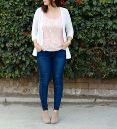 be2ecc6b79b51 Knit Cardigan + Blush Pink Peplum Top + Skinny Jeans + Nude Ankle Boots   ootd