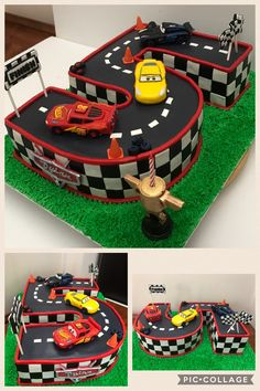 CARS 3 cake! This cake features Lightning McQueen (of course!), Jackson Storm, and Cruz Ramirez in gum paste. What kid wouldn't love a Cars 3 race track birthday cake? #cakes #carscake