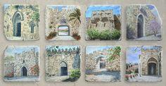 The eight gates of Jerusalem. Zion Gate,Dung Gate,Golden Gate,Lions' Gate,Herod's Gate,Damascus Gate,New Gate,Jaffa Gate