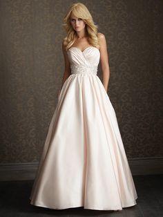 Formal Modest Romantic Ivory White $$ - $701 to $1500 A-line Allure Romance Ball Gown Beading Empire Floor Ruching Sash/Belt Satin Sleeveles...