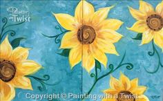 """DATE/ BFF NIGHT! Come paint """"Sunflowers on Teal Set"""" with friends Thursday, Sept 22 @ 7pm."""