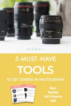 Click through to read the 5 tools that you should have to get started in photography, and find out what you need, why you need it, what you can get away with using right now, and what to invest in first.