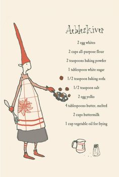 Maileg's Aebleskiver Recipe, Folded Cards w/ env. Swedish Christmas, Scandinavian Christmas, Christmas Baking, Winter Christmas, Handmade Christmas, Christmas Cookies, Christmas Tree, Winter Holidays, Happy Holidays