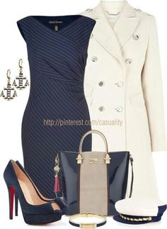 A little too nautical meets flight attendant, but love the cut of the dress & coat, and those shoes are drool worthy