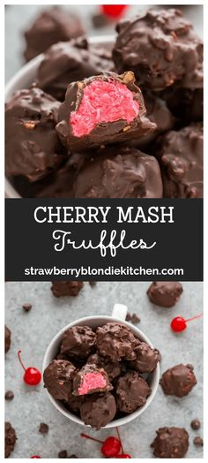 These Cherry Mash Truffles are a delicious copycat of Cherry Mash candies featuring a soft cherry center, covered in chocolate peanut coating. New Year's Desserts, Köstliche Desserts, Delicious Desserts, Dessert Recipes, Delicious Chocolate, Fun Recipes, Cookie Recipes, Holiday Baking, Christmas Baking