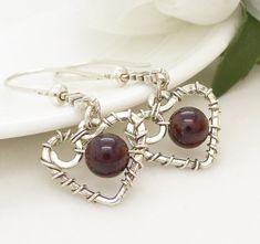 Sterling silver heart earrings wire wrapped by CreativityJewellery