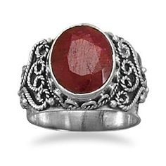 Ornate Sterling Silver Ring with Oval Rough-Cut Ruby by Salerno's Jewelry Stores on Opensky