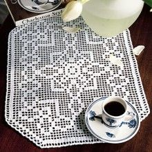 """Admiring Glances"" filet crochet doily"