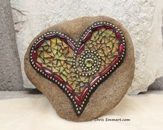 Pink and Yellows Mosaic Heart /Garden Stone by ChrisEmmertMosaic Sold