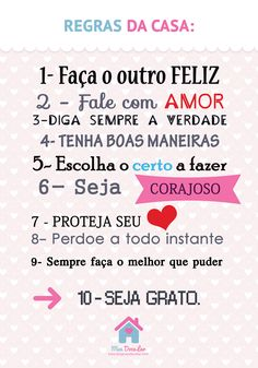 Pôster criativo - Regras da casa | Meu Doce Lar Diy And Crafts, Sweet Home, Poster, Positivity, Letters, Thoughts, Feelings, Words, Quotes