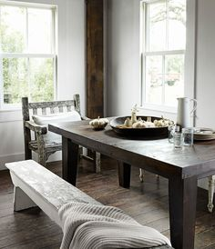 Nice table, with bench and mismatched chairs