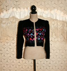 Vintage Black Velvet Bolero Cropped Jacket by MagpieandOtis