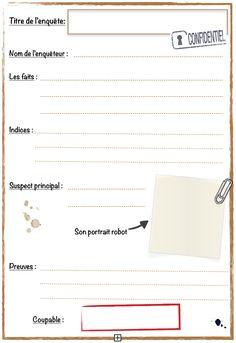 Voici un carnet de détective que j'ai bricolé et que jedonne à mes élèves en parallèle à nos lectures de romans policiers.  Le carnet est imprimé avec une dizaines de fiches enquêtes et...                                                                                                                                                                                 Plus