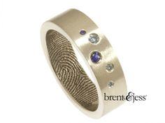 From www.brentjess.com - Scattered Blue Diamonds and Sapphires Fingerprint Wedding Band in Sterling Silver - Custom handmade fingerprint jewelry by Brent&Jess