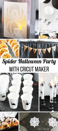 Spider Halloween Party with Cricut Maker. Create everything you need for a creepy spider party using your Cricut Maker and the adaptive toolset. Ideas for a spider table runner, spider cups, spider treat bags, hanging spider decor, spider luminaries, and spider candles. Halloween Spider, Halloween Party, Halloween Ideas, Treat Bags, Diy Tutorial, Diy Fashion, Creepy, Tool Set, Creative