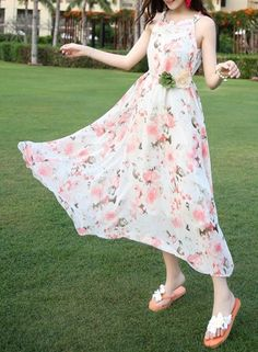 Bohemian Round Neck Floral Print Sleeveless Maxi Dress OASAP.com
