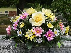Headstone Memorial Tombstone Cemetery Silk Flower Saddle / Wreath/ Yellow Roses