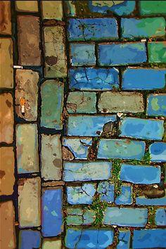 Blue cobble stones of San Juan Puerto Rico Outdoor Pavers, Stone Road, Artsy Background, San Juan Puerto Rico, Caribbean Art, Interior Garden, Colorful Paintings, Moorish, Tile Art
