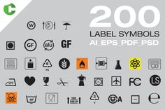 200 Label Symbols Graphics Label Symbols** ------------------To be used in product labels, packaging, food bags and oth by Colatudo Store Business Illustration, Pencil Illustration, Business Brochure, Business Card Logo, Food Icons, Business Powerpoint Templates, Paint Markers, Health And Nutrition, Icon Design
