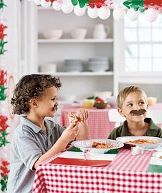 """Italian Party Ideas  Red checked tablecloth.  Italian placemat using print out of Italian Flag and laminate. Paper mustaches for the """"guido style""""."""