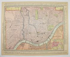 Vintage Map Southern Ohio Map Century Map Of Ohio Cincinnati - Us map indiana ohio