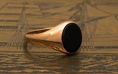 Black Onyx Ring ROSE Signet Ring Black Agate Ring Gold