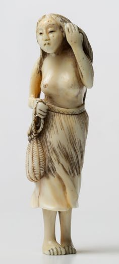 Ama wringing her hair Female pearl diver, 18th - 19th century  Ivory netsuke, Height 8.9 cm   The woman is shown standing, the body slightly turning to the right and naked to the waist. She is represented wringing the water out of a lock of her long hair with one hand while the other holds the cord of her creel.  Japanese tradition holds that the practice of ama may be 2000 years old. Traditionally, and even as recently as the 1960s, ama dived wearing only a loincloth.