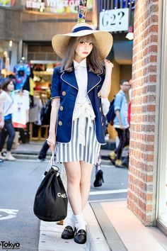 "tokyo-fashion: ""Saaya - producer of the Japanese fashion brand Swankiss - on the street in Harajuku wearing Swankiss, a wide brim hat, a Kinji blazer, resale loafers, and a Chanel bag. Full Look "" Korean Fashion Pastel, Korean Fashion School, Korean Fashion Winter, Korean Fashion Men, Japanese Street Fashion, Tokyo Fashion, Harajuku Fashion, Kawaii Fashion, Cute Fashion"