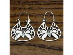 Bee Silver Earrings - Handmade Silver Mexican jewellery from Silver Bubble: http://silverbubble.co.uk/silver-earrings-2494