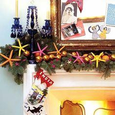 colorful Christmas mantel decor