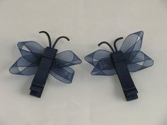 Dragonfly Hair Clip Set Navy Blue by EuphoriaRoad