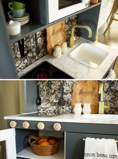 Play Kitchen Renovation - DIY Ikea Duktig Hack - by Cassie at The Inspired Room Green Kitchen, New Kitchen, Kitchen Decor, Kitchen Ideas, Diy Cutting Board, Diy And Crafts Sewing, Diy Crafts, Bath And Beyond Coupon, Crafts For Teens