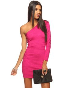 Metallic Bandage Dress   FOREVER21 - I love the color and the one sleeve