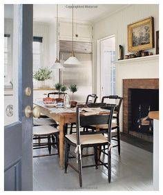 Home Interior Warm Dreaming of Houses - Harlowe James.Home Interior Warm Dreaming of Houses - Harlowe James Fancy Kitchens, Home Kitchens, Eat In Kitchen, Kitchen Dining, Fireplace In Kitchen, Fireplace Brick, Cozy Kitchen, Kitchen Modern, Kitchen Floor