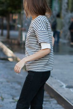 Drop Sleeve Shirt - Ocean Grey Stripe | Emerson Fry
