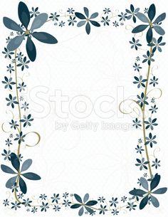 Blue Flower Border Design, Background stock vector art 8327122 ...
