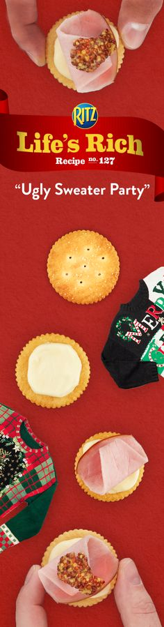 Hoping to win Best Dressed at the Ugly Sweater Party this year? Sway the odds by serving Spicy Ham & Brie Toppers. Follow this simple recipe for a tasty appetizer! 1. Spread RITZ Garlic Butter Crackers w/ softened brie cheese 2. Add a slice of ham 3. Top w/ a small dollop of spicy whole grain mustard. Enjoy!