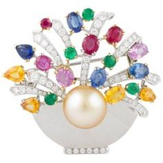 Ella Gafter Sapphire Ruby Emerald Diamond Pearl Flower Basket Brooch Pin