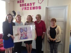 Our Business Manager Vicky O'Grady presents HER Breast Friends charity with one of her donated paintings