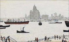 LOWRY Laurence Stephen - The liver buildings, Liverpool Liverpool Waterfront, Liverpool Town, Liverpool Docks, Liverpool History, Liverpool 2016, Liverpool Skyline, New Brighton, Spencer, English Artists