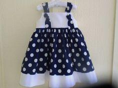 Girls Nautical Dress Navy Blue and White Polka Dot Knot Dress Sizes 6-12m, 12-18m, 18-24m, 2T, 3T, 4T, 5, 6, 7, 8