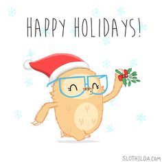 • gif Christmas happy holidays animation mistletoe sloth greeting cards sloth life Slothilda slothilda •