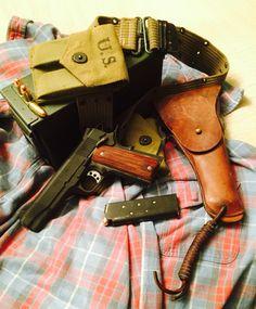 Springfield 1911 loaded vintage WW2 belt W/holster